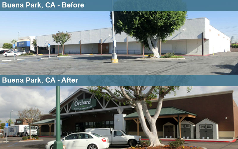 Buena Park CA Adaptive Reuse Site Before and After